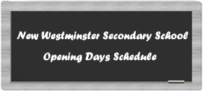 NWSS Opening Days Schedule