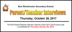 NWSS Parent/Teacher Interviews Thursday, October 26, 2017